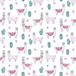 SMALL - valentine llama // alpaca llamas valentines day fabric cute nursery kids love white pink