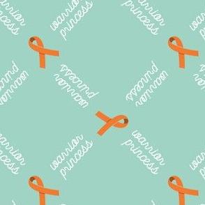 Warrior Princess - orange Awareness Ribbon on aqua