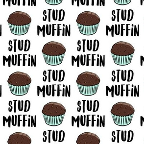 Stud muffin - valentines day - chocolate muffins on white