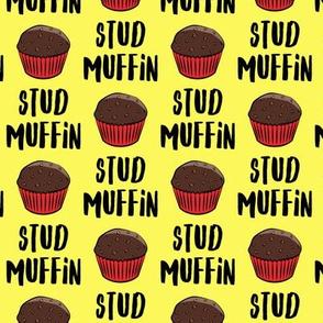 Stud muffin - valentines day - chocolate muffins on yellow