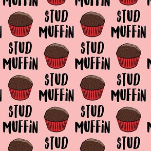Stud muffin - valentines day - chocolate muffins on pink