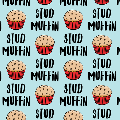 Stud muffin - valentines day - muffins on blue fabric by littlearrowdesign on Spoonflower - custom fabric