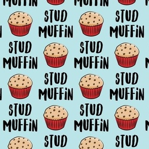 Stud muffin - valentines day - muffins on blue