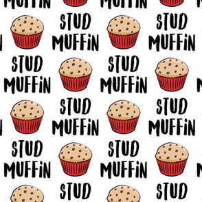 Stud muffin - valentines day - muffins on white