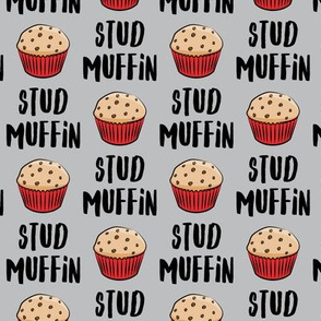Stud muffin - valentines day - muffins on grey