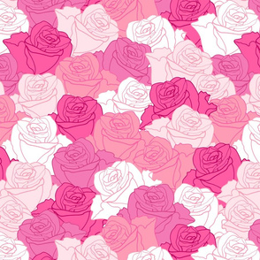 Pink Roses Outlined Full