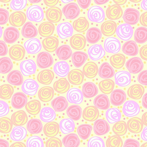 Flowers Roses Swirled on Creamy Yellow