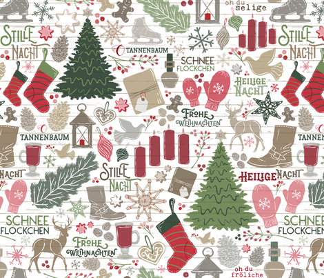 German Christmas Traditions // Frohe Weihnachten! // Christmas Trees, Carols, Greetings, Gluehwein, Mittens, Bells, Gingerbread, Lebkuchen, Ice Skates fabric by zirkus_design on Spoonflower - custom fabric