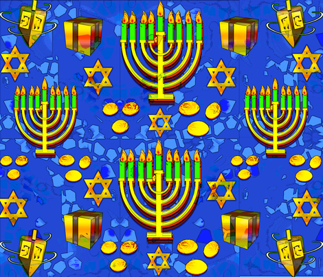 HanukkahSymbols fabric by beverly_brill on Spoonflower - custom fabric