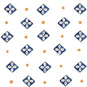 Desert flower with orange dots on white