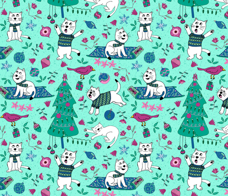 Kittens at Christmas fabric by palifino on Spoonflower - custom fabric