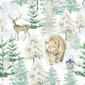 "7"" Hand drawn Watercolor Winter Wonderland"