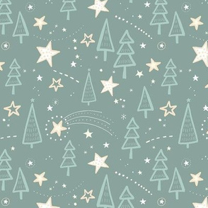 Holy Night with Trees and Stars / Teal