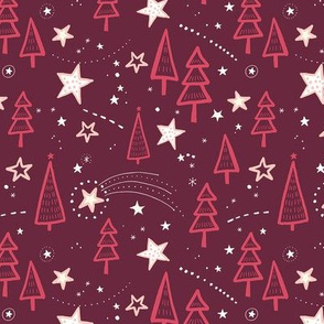 Holy Night with Trees and Stars / Burgundy