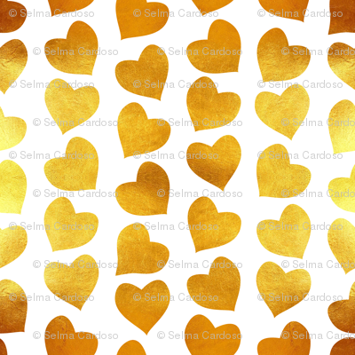 Valentines joy // tiny scale // white background golden hearts
