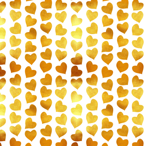 Valentines joy // tiny scale // white background golden hearts fabric by selmacardoso on Spoonflower - custom fabric
