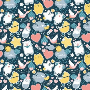 My Baby's Pattern // tiny scale // navy blue background with yellow // baby girl or boy