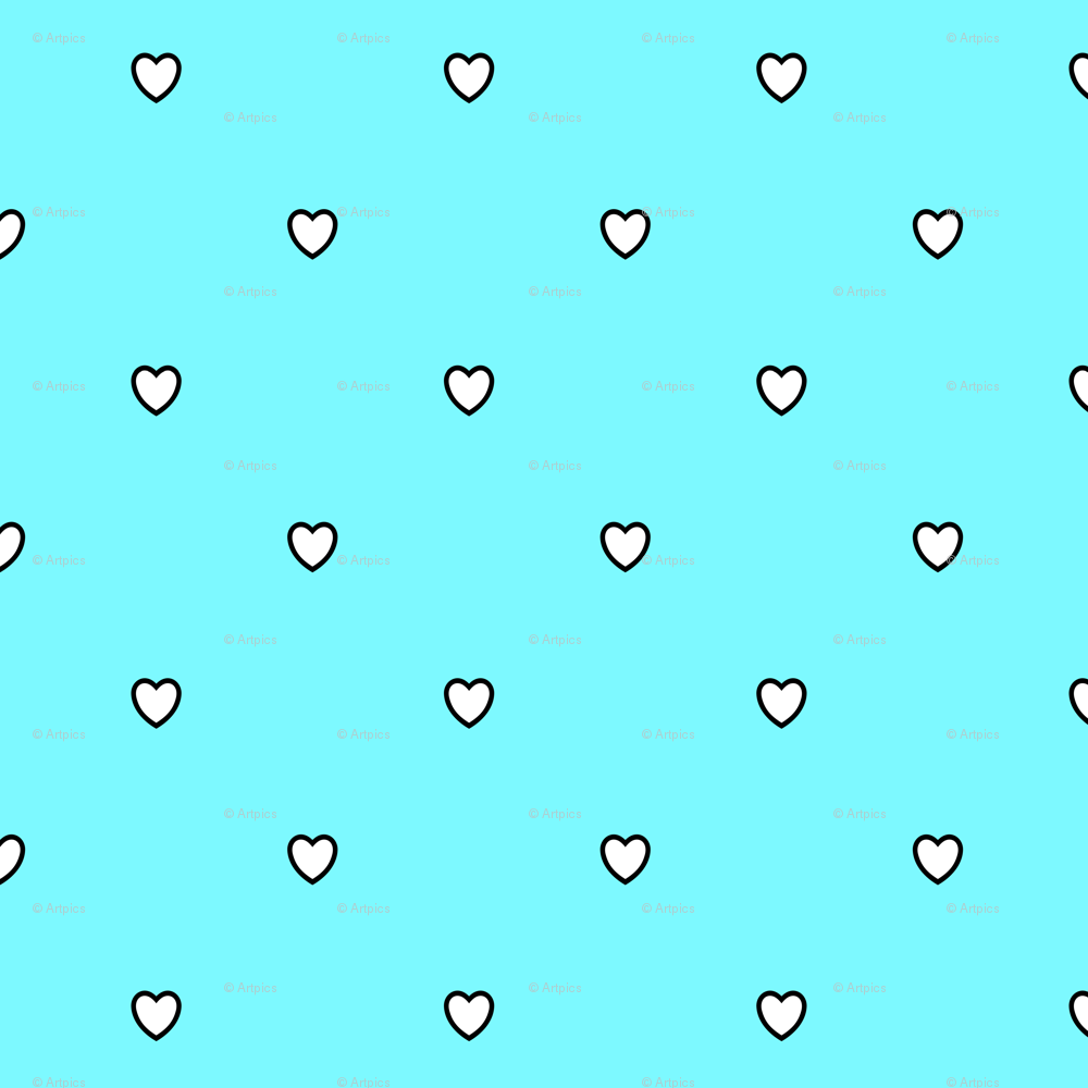 White Black Color Love Heart Electric Blue Color Background Polka
