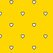 White Black Color Love Heart Gold Yellow Color Background Polka Dot Pattern
