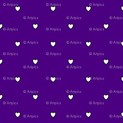 White Black Color Love Heart Indigo Blue Purple Color Background Polka Dot Pattern