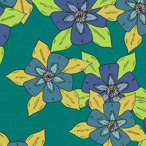 Sketch Aquilegia Flower Pattern - Blue & Green