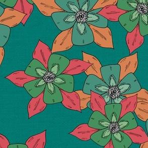 Sketch Aquilegia Flower - Turquoise & Pink