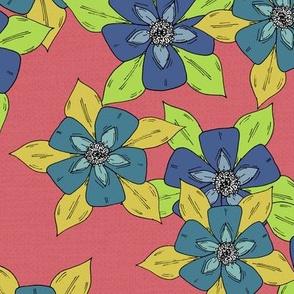 Sketch Aquilegia Flower- Pink & Blue