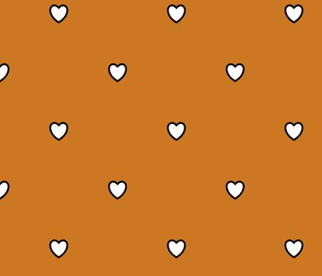 White Black Color Love Heart Ocher Golden Brown Color