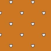White Black Color Love Heart Ocher Golden Brown Color Background Polka Dot Pattern
