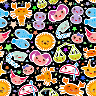 Funny Kawaii zodiac sign, astrological signs