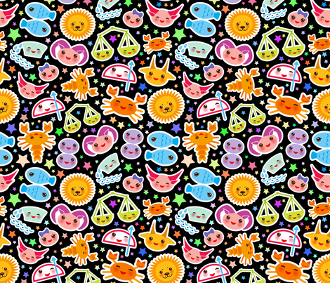 Funny Kawaii zodiac sign, astrological signs fabric by ekaterinap on Spoonflower - custom fabric