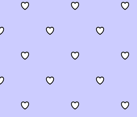 White Black Color Love Heart Periwinkle Light Blue Color Background