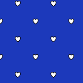 White Black Color Love Heart Persian Blue Color Background Polka Dot Pattern