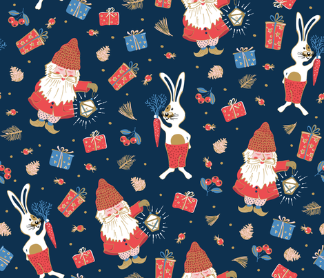 Holidays with gnomes and rabbits fabric by ringele on Spoonflower - custom fabric