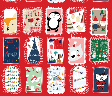 Holiday Around the World Red Background fabric by bruxamagica on Spoonflower - custom fabric