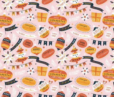 Seasons greeting fabric by alenkakarabanova on Spoonflower - custom fabric