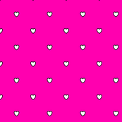 White Black Color Love Heart - Magenta Rose Fruit Color Background - Heart Love Polka Dot Pattern