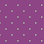White Black Color Love Heart - Plum Purple Violet Color Background - Heart Love Polka Dot Pattern