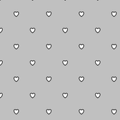 White Black Color Love Heart - Silver Gray Grey Color Background - Heart Love Polka Dot Pattern