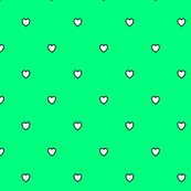 White Black Color Love Heart - Spring Green Color Background - Heart Love Polka Dot Pattern