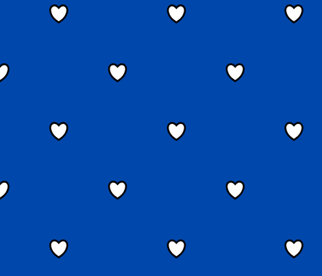 White Black Color Love Heart Cobalt Blue Color Background Polka Dot Pattern fabric by artpics on Spoonflower - custom fabric