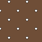 White Black Color Love Heart Coffee Mocha Color Background Polka Dot Pattern