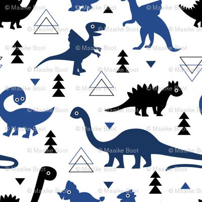 Adorable dino dinosaur fantasy geometric triangles and funky animal illustration theme for kids cobalt blue navy black boys