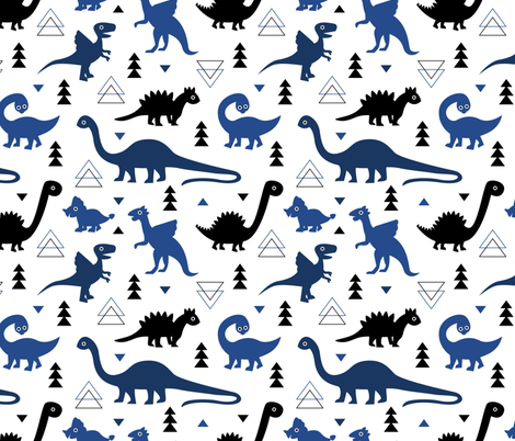 Adorable dino dinosaur fantasy geometric triangles and funky animal illustration theme for kids cobalt blue navy black boys fabric by littlesmilemakers on Spoonflower - custom fabric