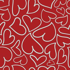 Swoon Hearts - XsOs_BlueWithDkRedBG_HandDrawnHearts_seaml_Stock