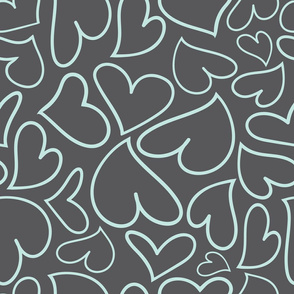 Swoon Hearts - XsOs_BlueWithGrayBG_HandDrawnHearts_seaml_Stock