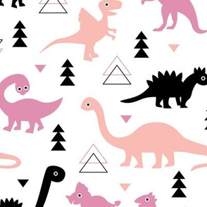 Adorable dino dinosaur fantasy geometric triangles and funky animal illustration theme for kids pink pastel apricot