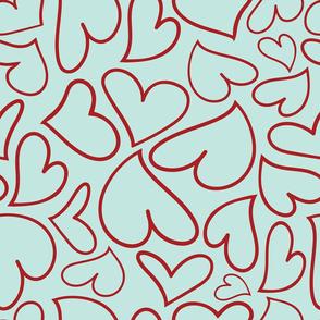 Swoon Hearts - XsOs_DkRedWithBlueBG_HandDrawnHearts_seaml_Stock