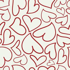 Swoon Hearts - XsOs_DkRedWithOffWhtBG_HandDrawnHearts_seaml_Stock