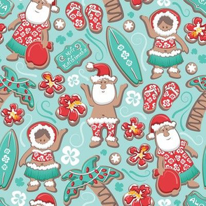 Mele Kalikimaka Hawaiian Christmas gingerbread cookies // small scale // aqua background